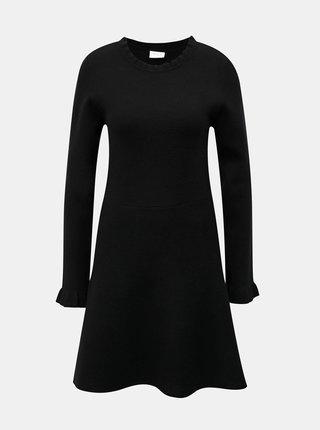 Čierne svetrové šaty s dlhým rukávom VILA Livnia