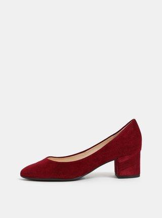 Pantofi bordo din piele intoarsa cu toc mic Högl