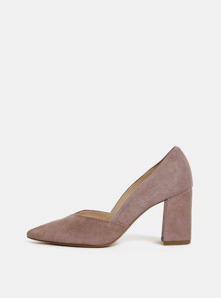 Pantofi roz prafuit din piele intoarsa cu toc inalt stabil Högl