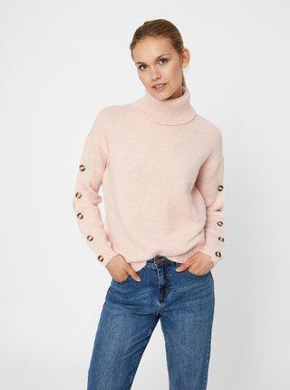 Růžový svetr s rolákem a knoflíky na rukávech VERO MODA Acel