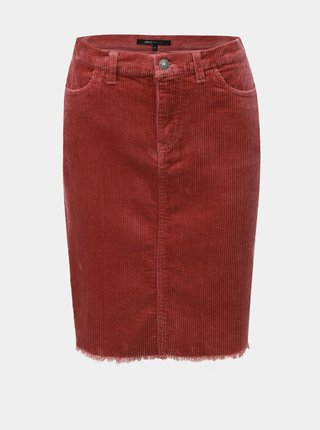 Staroružová menčestrová sukňa s rozstrapkaným lemom ONLY
