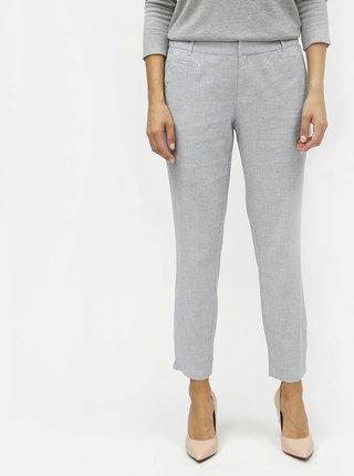 Modré dámske ľanové slim fit chino nohavice s.Oliver