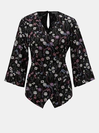 Bluza neagra florala cu croi suprapus si decupaj la spate Apricot