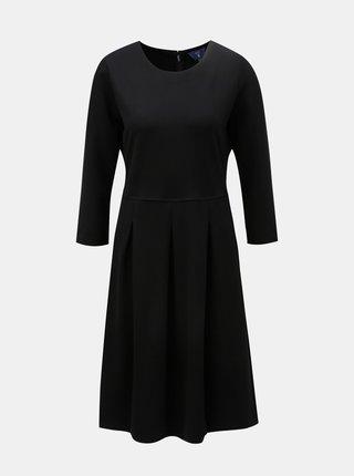 Čierne áčkové šaty s 3/4 rukávom GANT