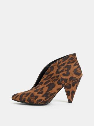 Hnědé kotníkové boty na podpatku s leopardím vzorem v semišové úpravě Dorothy Perkins Leo