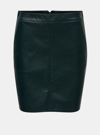 Tmavě zelená koženková sukně Dorothy Perkins