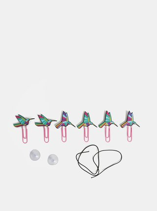 Balenie šiestich svoriek s kolibríkmi a špagátika na zavesenie obrázkov Mustard