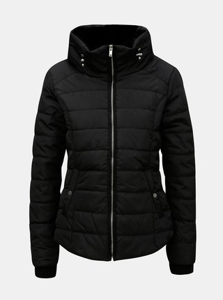 Černá prošívaná bunda s kapucí Dorothy Perkins