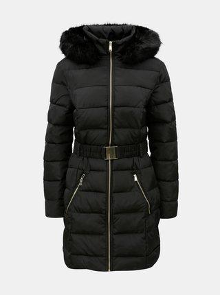 Čierny prešívaný kabát s umelou kožušinkou Dorothy Perkins Tall