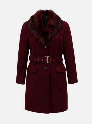 Vínový kabát s umělým kožíškem Dorothy Perkins Curve