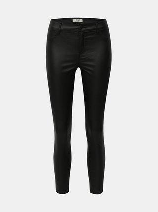 Čierne koženkové skinny nohavice Dorothy Perkins Petite