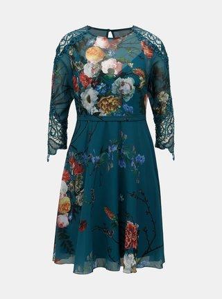 Petrolejové kvetované šaty s čipkovanými detailmi Little Mistress