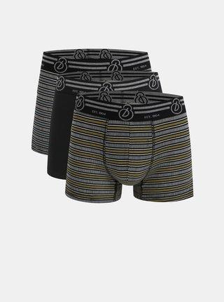 Sada tří vzorovaných boxerek v černé, bílé a žluté barvě Burton Menswear London Rodger