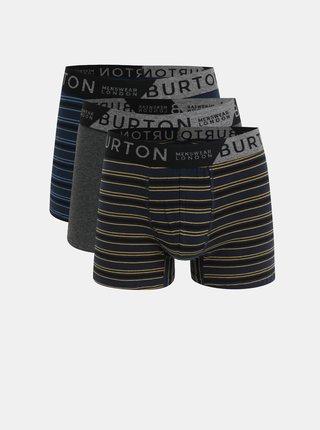 Sada tří pruhovaných boxerek v modré, šedé a žluté barvě Burton Menswear London Rodger Mario