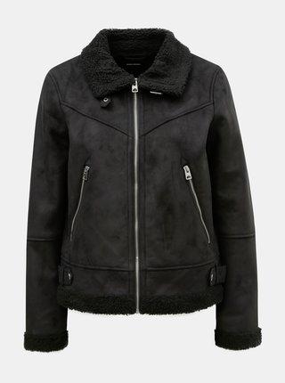 Černá bunda v semišové úpravě s umělým kožíškem VERO MODA Anais