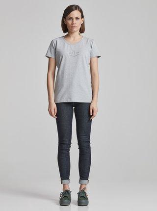 Tricou de dama gri melanj cu imprimeu Makia Angle