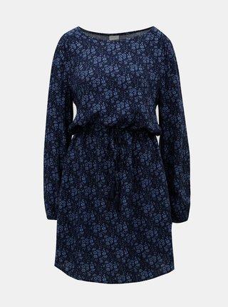 Modré vzorované šaty so sťahovaním v páse Jacqueline de Yong Fox