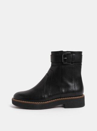 Čierne dámske kožené členkové topánky s prackou Geox Adrya