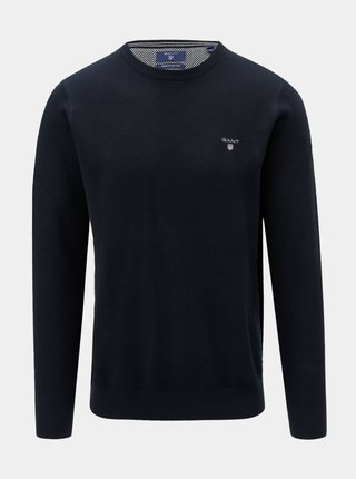 Tmavě modrý pánský svetr s výšivkou GANT