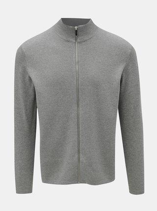 Světle šedý kardigan na zip Burton Menswear London