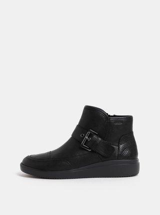 Čierne dámske kožené členkové topánky s remienkom Geox Tahina