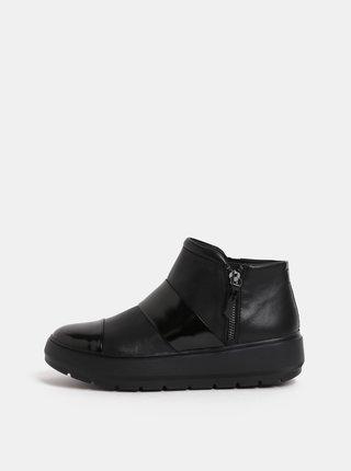 Čierne dámske kožené členkové topánky na platforme Geox Kaula