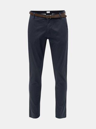 Pantaloni albastru inchis chino slim fit cu cordon Lindbergh