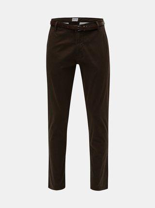 Tmavě hnědé slim fit chino kalhoty s páskem Lindbergh