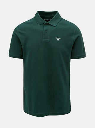 Tricou polo verde inchis cu broderie discreta Barbour Sports Polo