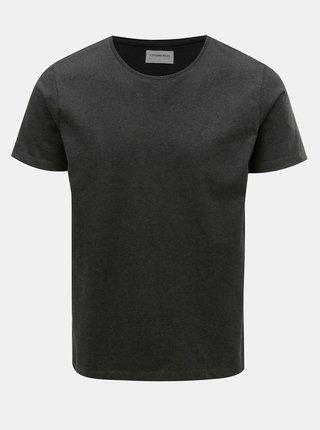 Tmavě zelené žíhané basic tričko s krátkým rukávem Lindbergh