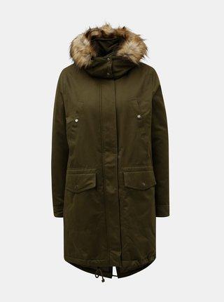 Geaca parka verde inchis de iarna cu blana artificiala ONLY Amella