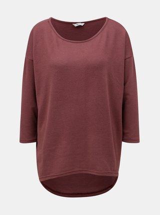 Vínový volný lehký svetr s prodlouženým zadním dílem ONLY Elcos