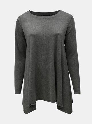 Sivý voľný asymetrický sveter Zizzi Cilla