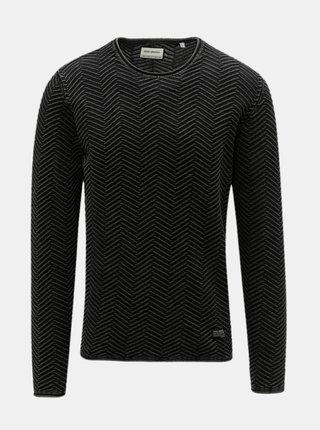Tmavě šedý vzorovaný svetr s kulatým výstřihem Shine Original