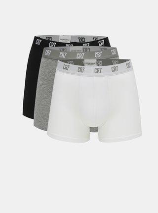 Súprava troch boxeriek v čiernej, sivej a bielej farbe CR7