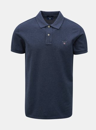 Modré pánské slim fit polo tričko s vyšitým logem GANT