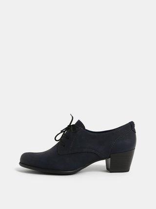Pantofi albastru inchis din piele naturala cu toc Tamaris