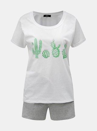 Pijama de dama gri-alb melanj cu motiv cactusi ZOOT