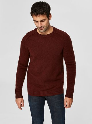 Pulover maro din lana Merino Selected Homme