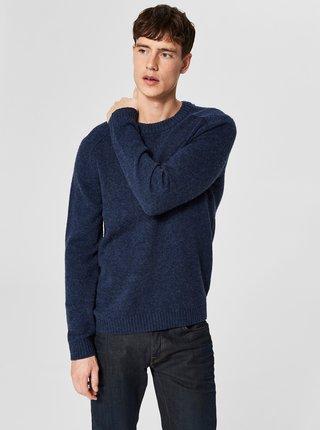 Pulover albastru din lana Merino Selected Homme