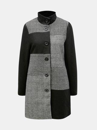 Čierno–sivý vzorovaný vlnený kabát Yest