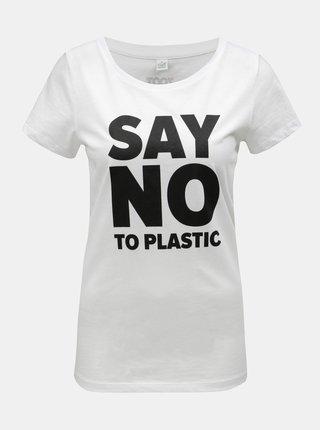 Bílé dámské tričko s potiskem ZOOT Original Say no to plastic