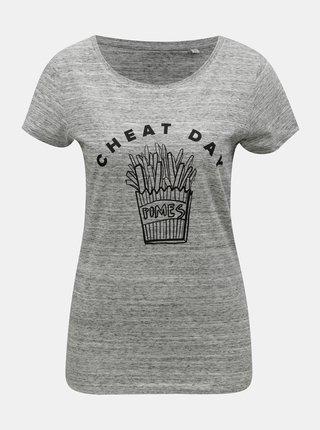 Šedé dámské žíhané tričko s motivem hranolek ZOOT Original Cheat day