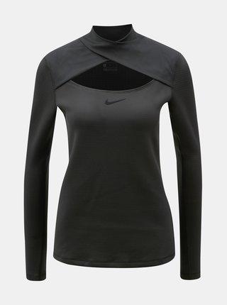 Černé dámské funkční tričko s průstřihem Nike