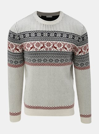 Pulover crem cu model norvegian Selected Homme Deer Crew