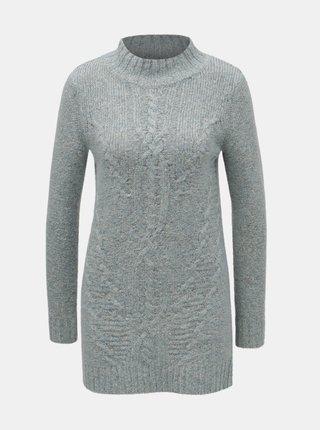Světe modrý žíhaný svetr se stojáčkem M&Co