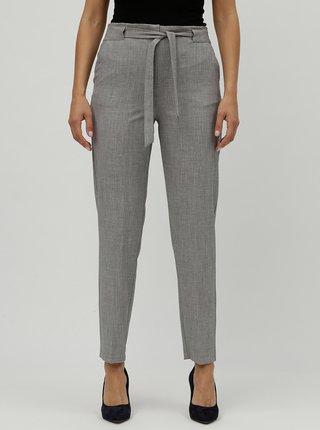 Šedé žíhané kalhoty s vysokým pasem M&Co