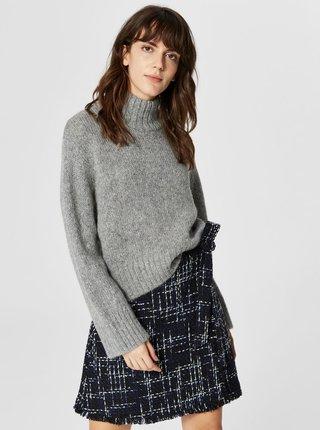 Šedý svetr s rolákem s příměsí vlny Selected Femme