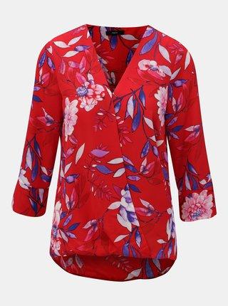 Bluza neagra florala cu decolteu suprapus M&Co