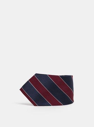 Vínovo-modrá vzorovaná hedvábná kravata Dice